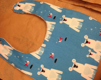 Blue Polar Bear baby bib for a boy or girl, Finnish, Finland Marimekko fabric, Jaakarhu