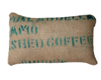 Cushion Cafe Europa, made with recycled coffee sack fabric. Insert included.