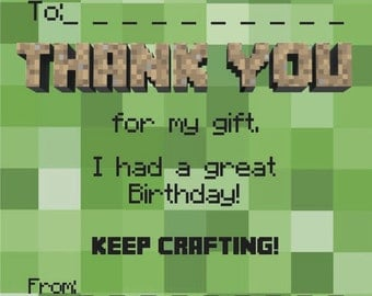 Thankyou notes/cards. Minecraft style. Gift.