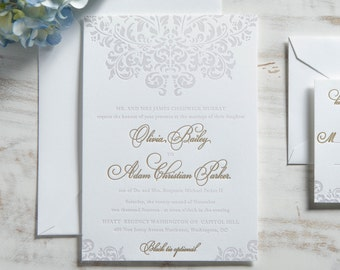 The Olivia Suite | Metallic Gold Foil + Letterpress Wedding Invitation SAMPLE