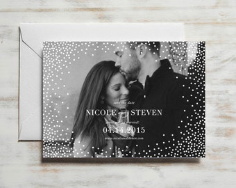 Confetti Save the Date | Photo Save the Date Card