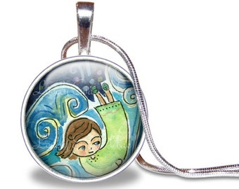Little Girl Necklace, Green and Blue Pendant, Girl Swimming, Lauren Alexander Pendant, Round Pendant, Jewelry, Silver Plated