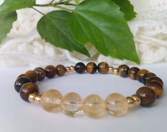 Citrine Bead Bracelet, Tiger Eye Bracelet, Stretch Gemstone Bracelet, Beaded Bracelet Women,Natural Stone Bracelet,Citrine Tiger Eye Jewelry