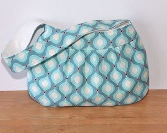 Buttercup Bag in blue with modern print