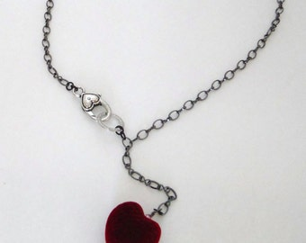 Chunky velvet heart, red velvet heart necklace with a heart clasp...