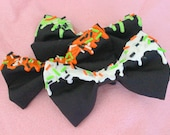 Creepy Cute Halloween Melting/Drippy Candy and Sprinkles Black Bow- Orange, White, or Green Embellishment