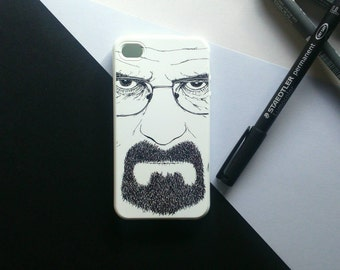 Retrato ilustración de Heisenberg (Walter White) de Breaking Bad en blanco y negro.Funda carcasa iPhone 6 6s plus 5 5s 5c 4 4s
