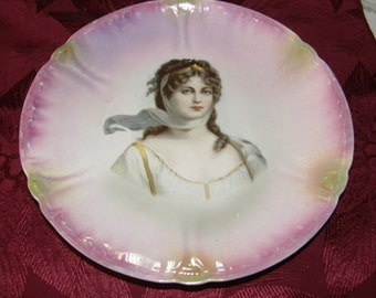 Antique FRANZ ANTON MEHLEM Royal Bonn Portrait Plate Germany Queen Louise 1890's