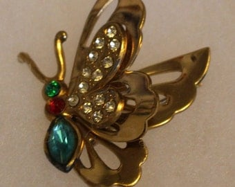 Vintage Butterfly Pin with Swivel Wing