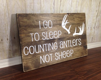 Woodland Nursery Decor - Rustic Wood - Woodland Nursery - Antlers Sign