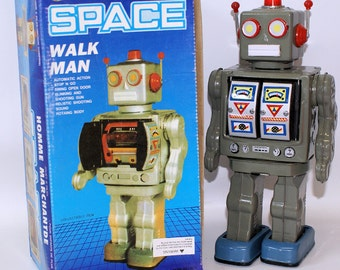 Vintage 1990's Tin Lithographed Battery Operated Dark Grey Walk Man Space Robot in Box