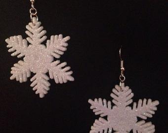 White Glitter Snowflake Earrings