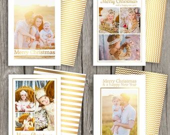 Gold Foil Christmas Cards - Christmas Card Set - Holiday Card Templates - Instant Download DIY Christmas Cards for Photographers - CS08