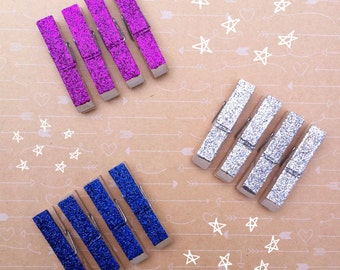Four Glitter Magnetic Fridge Pegs