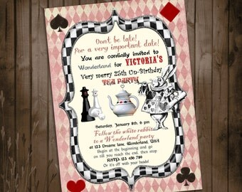 Alice in Wonderland Invitation - Vintage Birthday Tea Party Collection - for Birthday, Baby Shower, Bridal shower Tea Party - Printable DIY