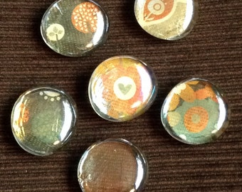 Glass stone magnet set of 6