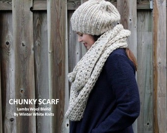 Knit infinity scarf, oversized chunky infinity scarf in oatmeal color, blanket scarf, winter accessory, crochet scarves, women's scarves