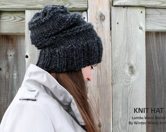 KNIT SLOUCHY HAT, chunky knit hat, handknit hat, Knit winter hat, dark grey knit hat, knit beanie hat, Available in many colors, lambswool