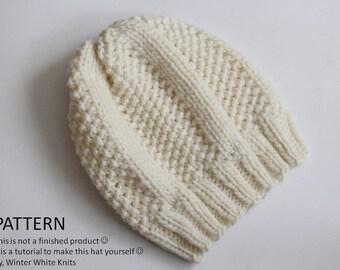 Knitting pattern, Knit hat pattern, PDF Instant Download Knitting Pattern, knit winter hat, easy to follow pattern, knitting pattern 0039