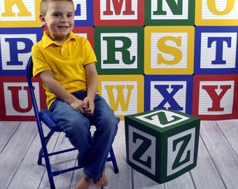 """Photography Backdrop - Alphabet Blocks With Z Block Prop - 3 & 5ft include 3 sided """"Z"""" block prop - ABC block photo backdrop"""