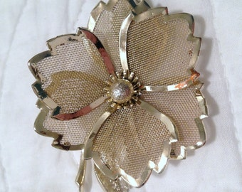 Authentic Vintage - Flower Brooch - Goldtone Metal