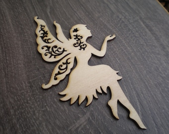 "10 pc 4.72"" x 2.75"" Fairy laser cut wood shape-wooden fairy favor-baby shower gift"