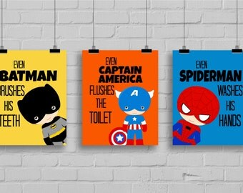 Superhero Bathroom Art Prints - Kids Bathroom Decor, Bathroom Manners, Super Hero Art, Super Hero Bathroom, Kids Bathroom, Set of 3 Prints