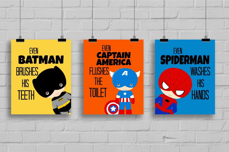 Superhero Bathroom Art Prints Kids By SimplyLoveCreations