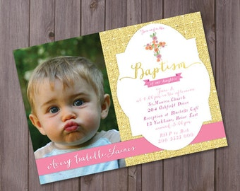 Baptism Photocard, Printable Baptism invitation Cross Baptism invitation, Christening invite, pink gold baptism invite, baby girl baptism