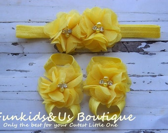Baby Yellow barefoot sandals set and headband-baby shoes- infant sandals- flower baby sandal
