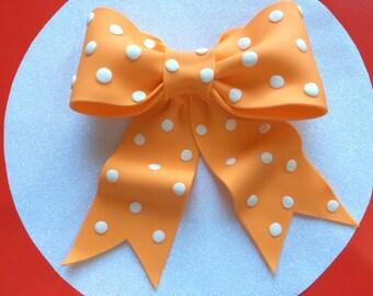 Edible cake topper Orange with white dots bow gum paste fondant for birthday cake