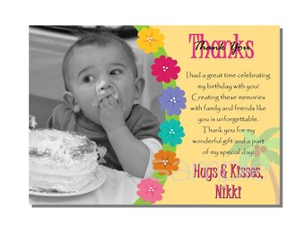 Luau Thank You Card Birthday Party - DIGITAL or PRINT YOURSELF