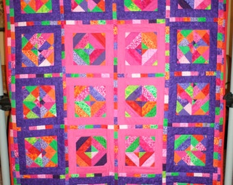Pink and Purple Crazy Geometric Quilt