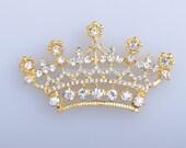Stunning Gold Metal Rhinestone Tiara Button Embellishment Crystal Baby TIARA CROWN Flat Back Button Baby Tiara Headband Baby Crown