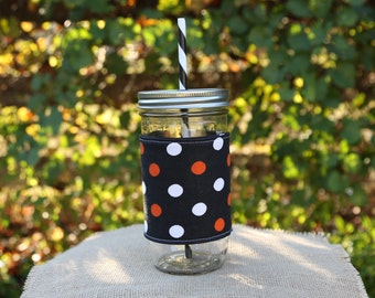 Mason Jar Tumbler 24oz | Halloween | Fall Gifts | Orange and Black Dots | Free Personalization | To Go Cup | Free Monogram