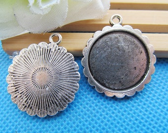Antique Silver tone/Antique bronze Oval Frame Base Setting Tray Bezel Pendant Charm/Finding,Border Flower,fit 20mm Cabochon/Cameo,DIY