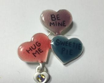 3 Hearts pin brooch ~ Valentine pin brooch ~ Be mine, , Hug me, Sweetie Pie by JMC