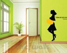 Modern Lady Walking Fashion Designer Brand Hand Bag Quote Wall Glass Decor Decal Sticker Boutique Salon Shopping