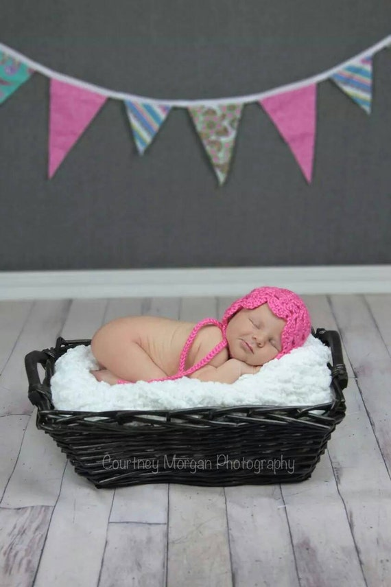 Hot pink baby bonnet, newborn girl hat, Photo Prop, Crocheted Baby Hat, crochet baby girl hat, baby shower gift