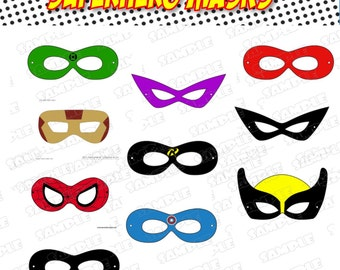 Superhero masks photo booth props superhero party super hero masks INSTANT DOWNLOAD by greenmelonstudios