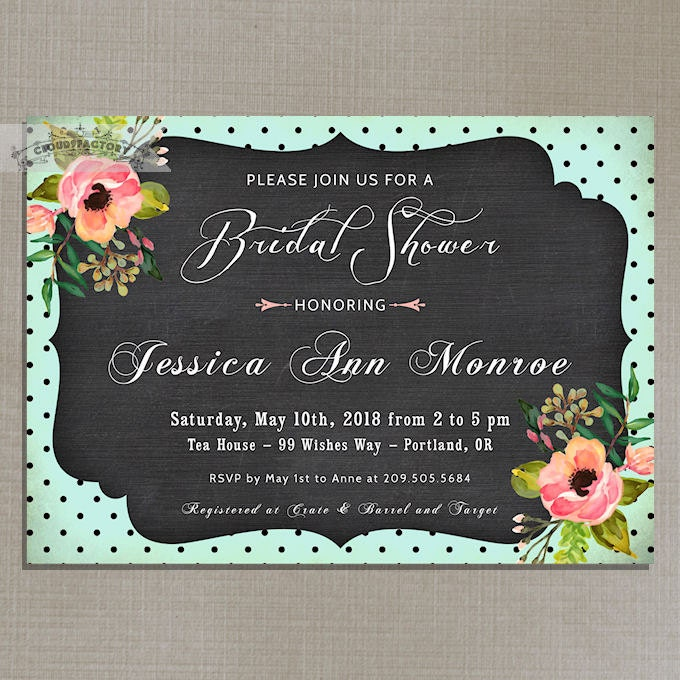 Whimsical Bridal Shower Invitation Chalkboard By Cloud9Factory