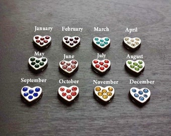 Birthstone Floating Charm-Silver Hearts-1 Piece-Gift Idea