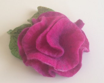 Rose brooch felt flower pin made of felted merino wool with silk embellishment and a metal pin back.