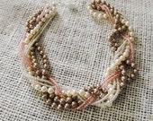 Braided pearl BRACELET Chunky pearl bracelet Blush bridal jewelry Chunky pink bracelet Braided statement jewelry Blush wedding bracelet