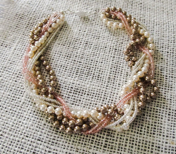 Braided pearl BRACELET Chunky pearl bracelet Blush bridal jewelry Chunky pink bracelet Braided statement jewelry Blush wedding bracelet