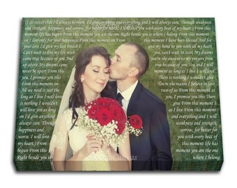 First Dance Custom Canvas, Lyrics, Vows, Quotes, Keepsake