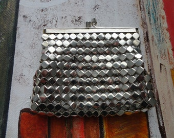 Vintage Silver Metal Mesh Coin Purse...Change Purse