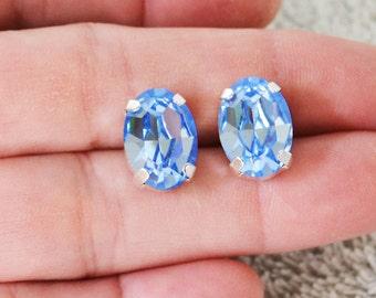 Light Sapphire Blue Earrings, Swarovski Crystal Earrings, Sapphire Blue Stud Earrings, Post Earrings, Button Earrings