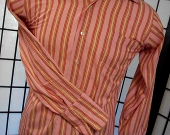 Lincoln Road LR men's long sleeve French cuff striped mod shirt 15 1/2 m