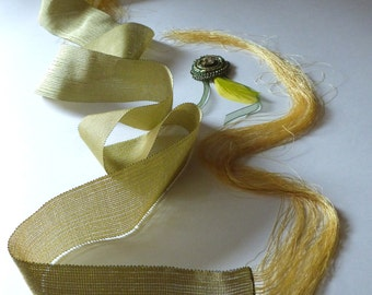 Luxury yellow ribbon light and dark green hand-woven with glass brooch